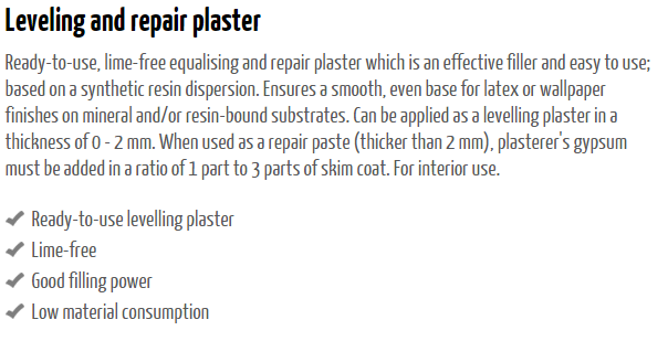 Leveling and Repair Plaster